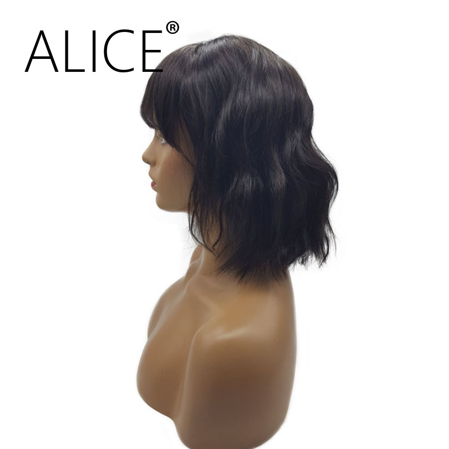 ALICE Glueless Brazilian Short Bob Lace Front Human Hair Wigs With Bangs 8-14 Inches Remy Hair Lace Wig Bleached Knots Wave