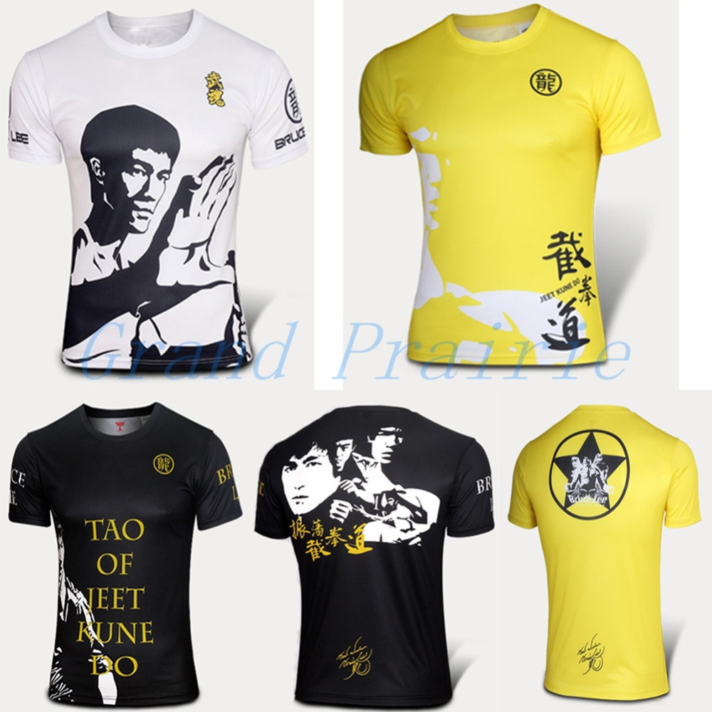 Bruce Lee Gong Fu T Shirt Men Short Sleeve Fit Tight Jersey Black Jeet Kune Do(China (Mainland))