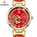 STARKING Colorful Shell Dial Crystal Rhinestone Women Dress Watches Luxury Brand Fashion Rose Gold Watch Relogio