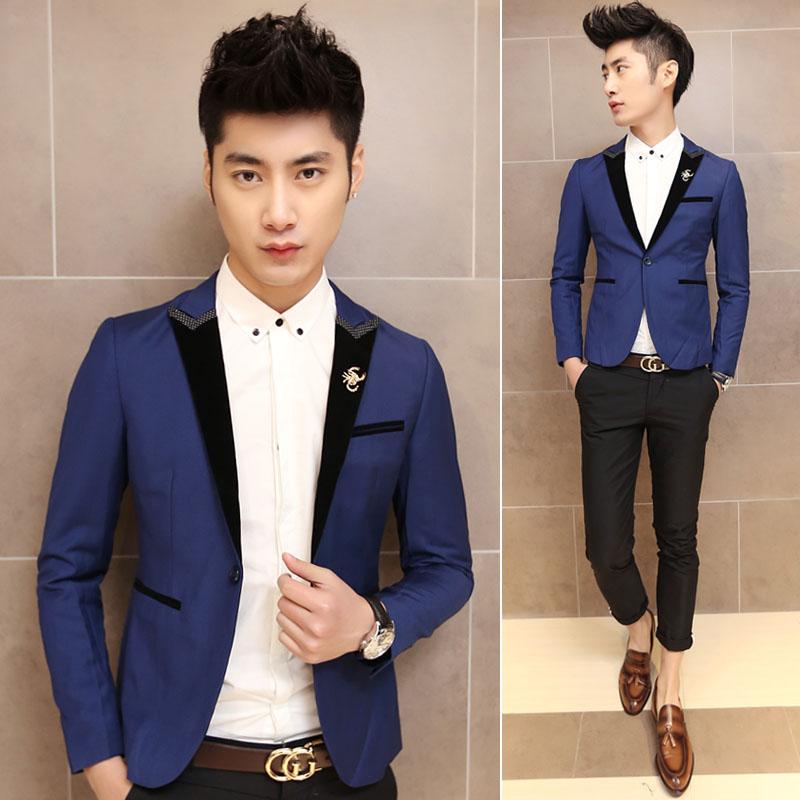 New Fashion 2014 spring men's casual collar color unique suit outwear male slim korea style blazer - fashionable wardrobe store