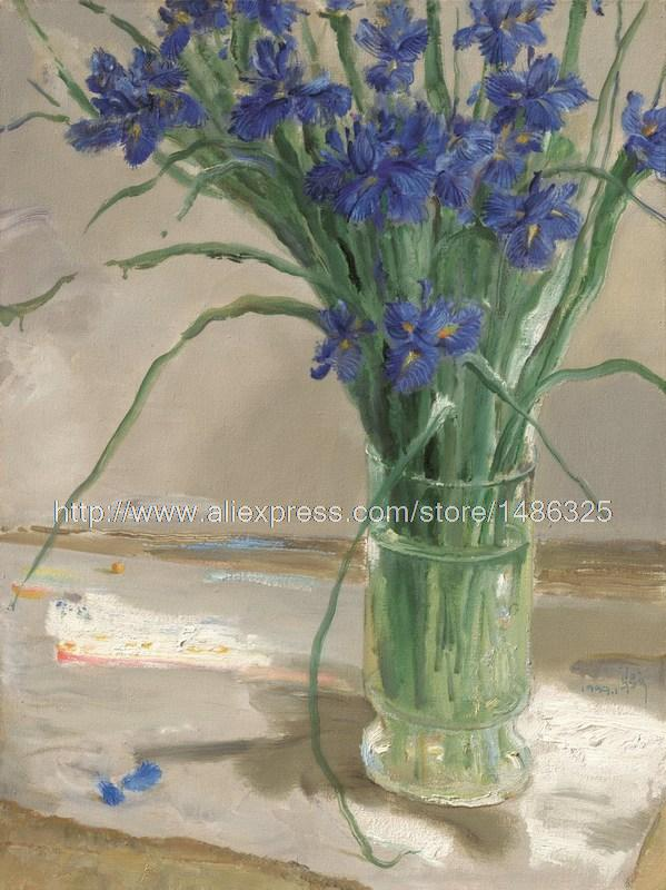 High Quality Hand Painted The Poster Cheap Small Picture Pictures Acrylic Paints Art Larg Street Painting FlowersBlue Iris(China (Mainland))