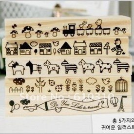 Free shipping wholesale New sweet Korea Wood stamp Set Cartoon style Animal flower house horse DIY long style stamp(20pcs/lot)
