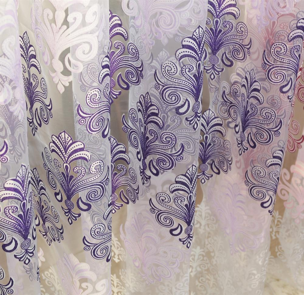 European style luxury window curtain printed tulle fabric ...