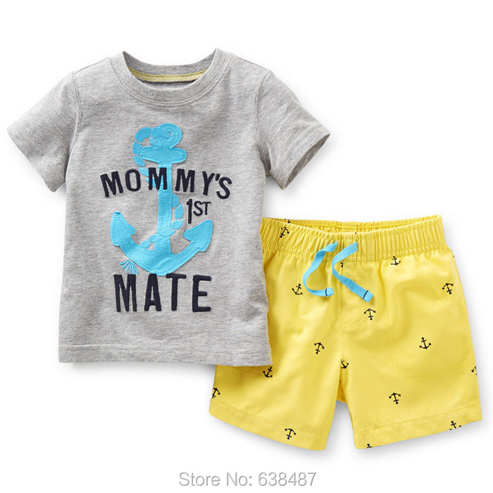 18M~6T New 2015 Quality 100% Cotton Brand Baby Boys Children Suits Toddler Kids Clothing Clothes Sets Outerwear Summer - JK Shop store