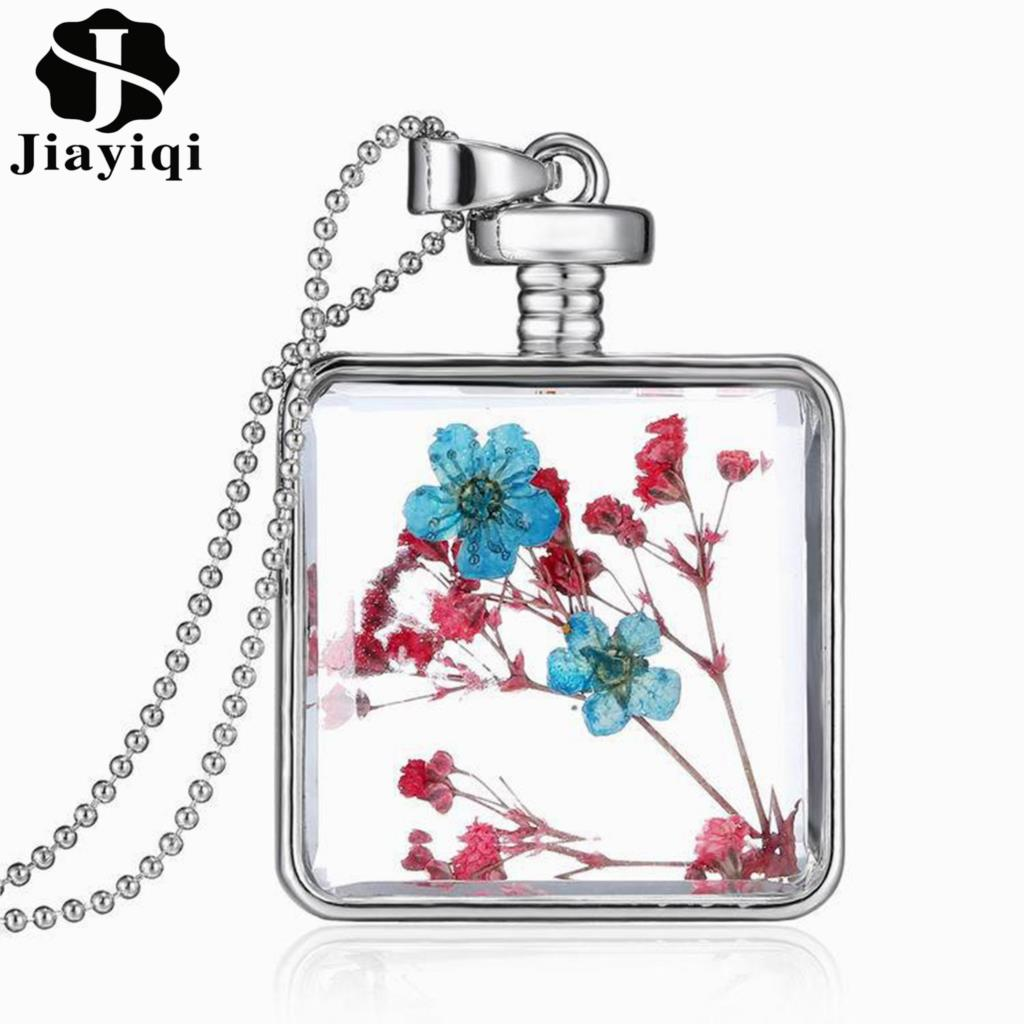 Fashion Silver Color Jewelry Glass Collares for Women Newest Dry Flower Statement Necklace Christmas Halloween Gift