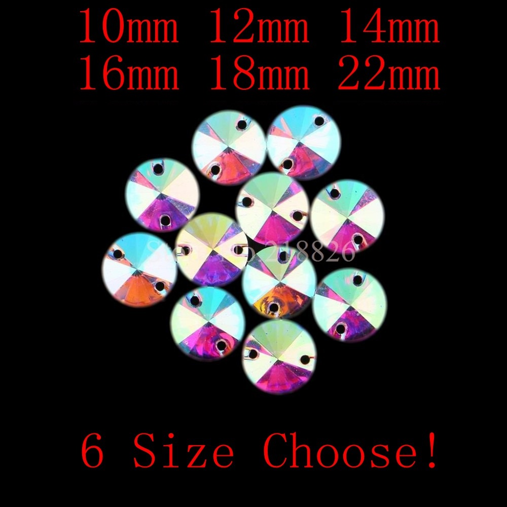 10mm to 22mm Round Clear Crystal AB Flatback Sew On Resin Beads Sew On Rhinestone Crystal Stones With 2 Holes For Dress Garment(China (Mainland))