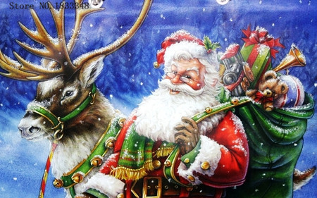Diamond Painting Santa Claus Picture of Rhinestones Christmas Set for Embroidery Stitch of Moose Counted Cross Stitch Kits Drill(China (Mainland))
