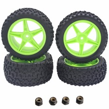 4Pcs Rubber Front / Rear Tires & Wheel Rim Hex:12mm For RC 1:10 Off Road Buggy Warhead Fit HSP Cars Parts Redcat Racing(China (Mainland))