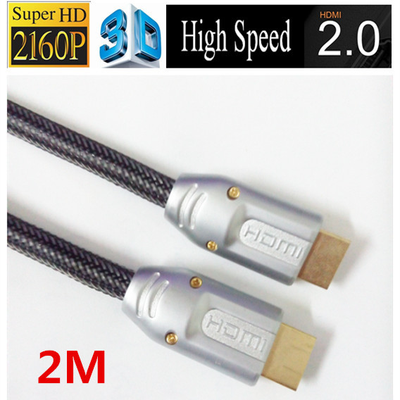 Free shipping 24k Gold plated hdmi 2.0 2M cable 4k 3d black color with ethernet Full 1080p 2160p for ps3 LCD DVD HDTV(China (Mainland))