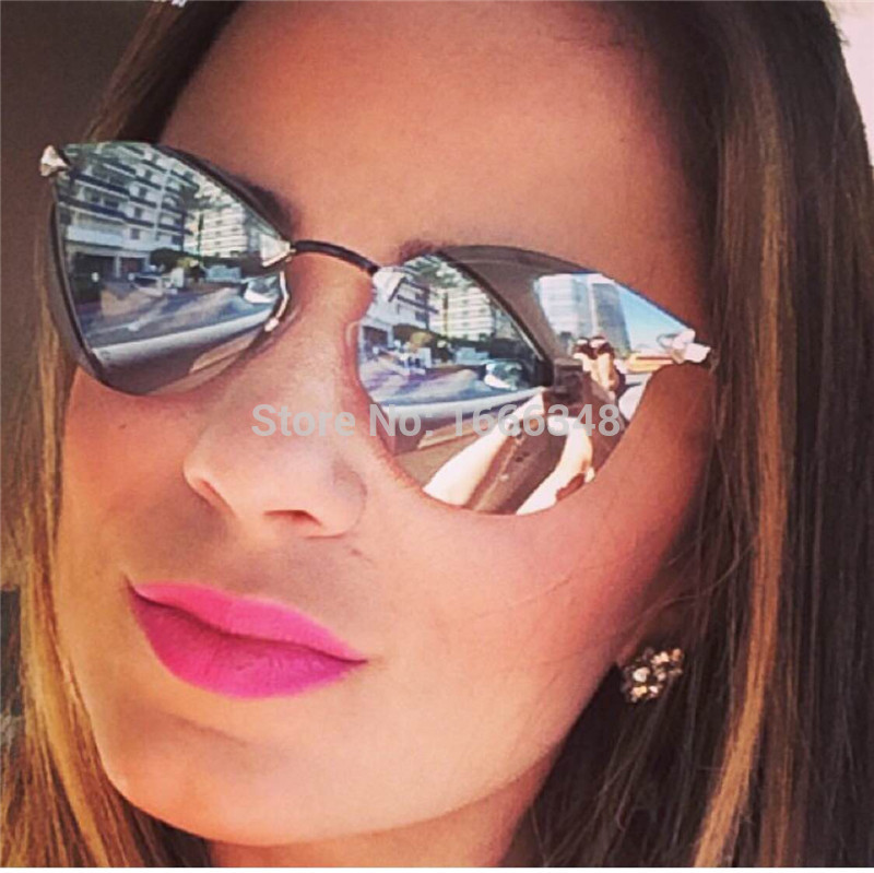 Hot !! Fen& D new FF0040 METROPOLIS COLLECTION cat eye sunglasses women brand designer mirror glasses summer style frameless(China (Mainland))