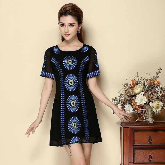 2015 Summer O Neck Black Chiffon Fine Blue Embridory Slim Women's Dresses Plus Size M-XXXL - Beauty Women store