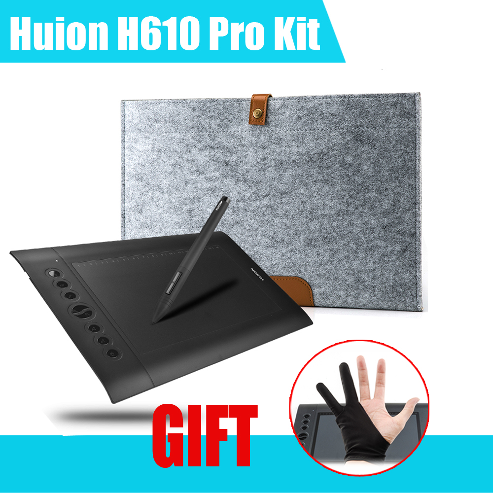 Гаджет  Original HUION H610 Pro Professional Graphics Drawing Tablet Digital Tablets + Anti-fouling Golve + 15Inch Wool Felt Liner Bag  None Компьютер & сеть