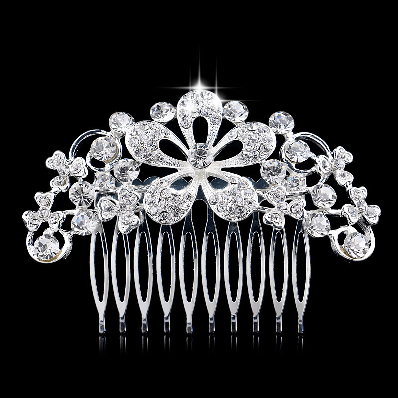 Design CZ Rhinestone Flower Shape Tiara Statement Bridal Party Silver Plated Hair Comb Accessories - Blue Stone Jewelry store