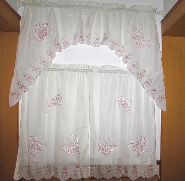 3PCS complete set Butterfly embroided beige cream KITCHEN CURTAIN TIER & SWAG(China (Mainland))