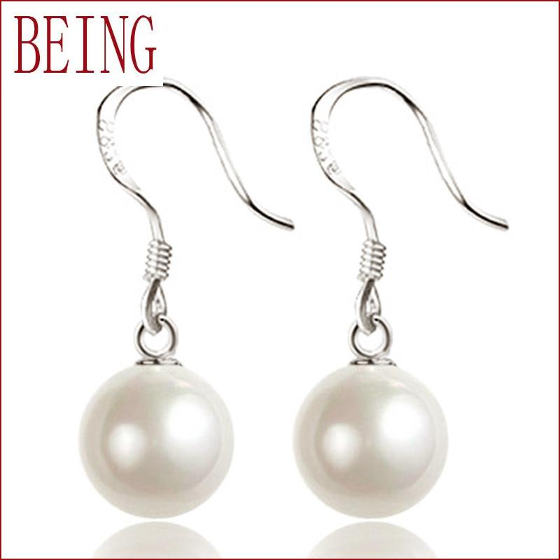 2016 High Quality Fashion Fine simulated Pearl Silver plated Drop Earrings Jewelry For Women Party Jewelry Wholesale(China (Mainland))