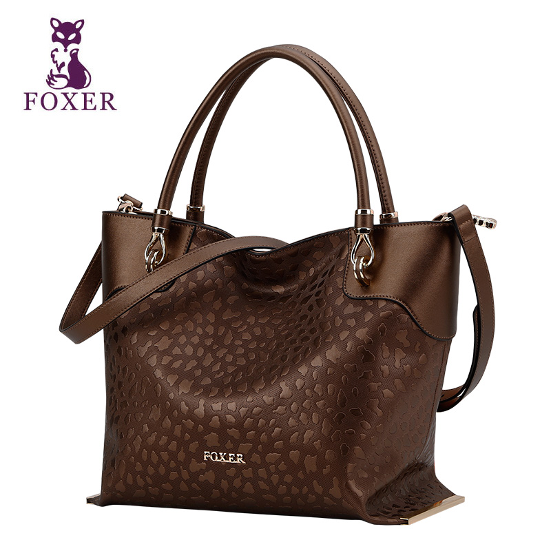 FOXER women genuine leather bag famous brands fashion Stone patterns quality women handbags shoulder bagcowhide bag<br><br>Aliexpress