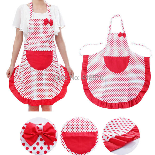New Brand Cute Lovely Dot Kitchen Aprons with Pocket For Women Girls Cooking Bib Apron Housework TQ-KT090(China (Mainland))