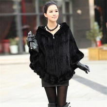 Fashion 100% Genuine Mink Fur Shawl Poncho With Hoody Women Knitted Mink Fur Coat Winter Furs(China (Mainland))