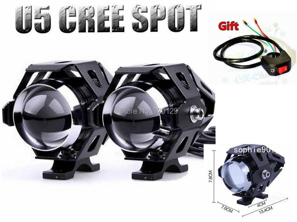 Гаджет  2x 125W Motorcycle CREE U5 LED Driving Fog Spot Light Lamp Headlight For Harley None Автомобили и Мотоциклы