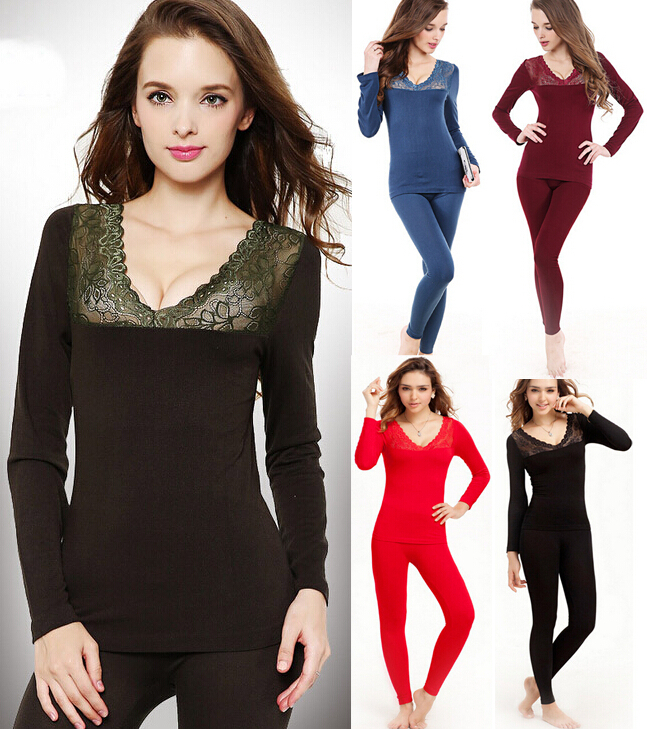 Hot Women Girl Sexy Silver Lace V-neck Thermal Underwear High Elastic Bottoming Clothing Winter Body Beautification Brand Pajama(China (Mainland))