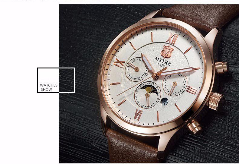 Бренд мужской Кварцевые Часы Натуральная Кожа Мужчины Наручные Часы Мужчины Часы 6 Указатель Рим Цифра Moon Phase хронограф