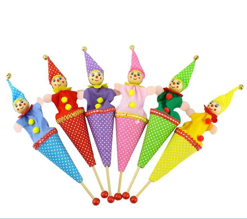 6pcs/lot baby Funny plush doll Toys Holiday Sale Lovely clown Puppet Kids children Hand stick doll Christmas gift Free shipping<br><br>Aliexpress