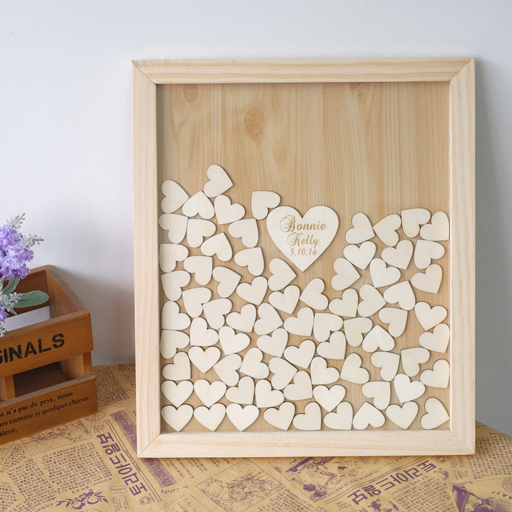 Custom Wedding guestbook alternative Personalised wood Heart Guest book Drop box Signature book wedding decoration(China (Mainland))