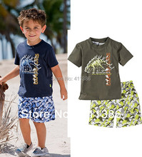 ST017 Free shipping new little boys beach sets short sleeve T shirt pants casual kids suit