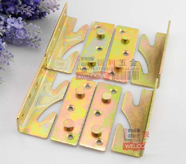 4set/lot Thickening bed to hang Insert hinge hinge bed connection Angle code furniture bed accessories(China (Mainland))