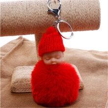 1 PC Moda Bonito Bebê Dormindo Saco chaveiro Boneca Pele De Coelho PomPom Fofo Decoração Chaveiros Jóias Para Mulheres Dos Homens(China)