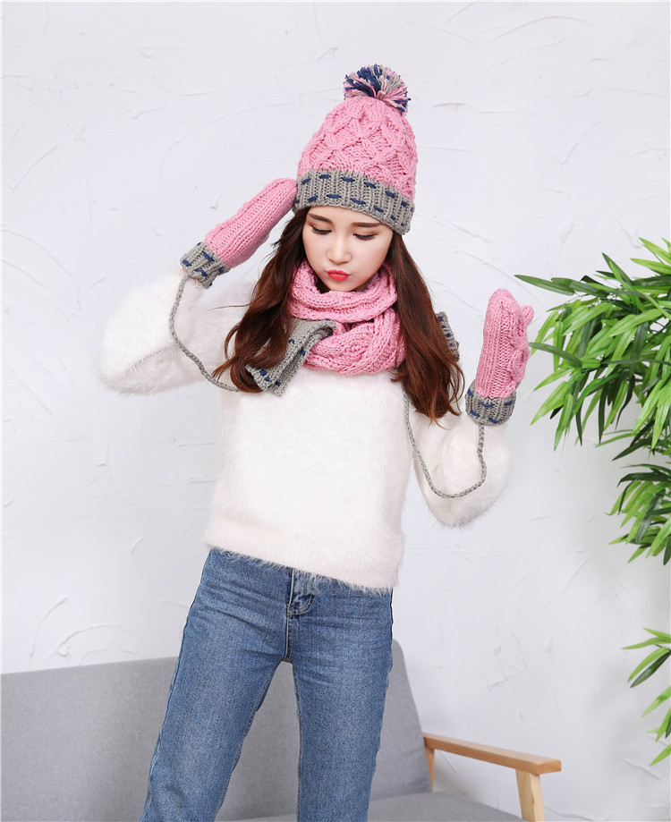 2016 New Korean Female Winter Warm Wool Cap Thicker Suit Spell Color Hat Scarves Gloves Three-piece Hot Explosion Models