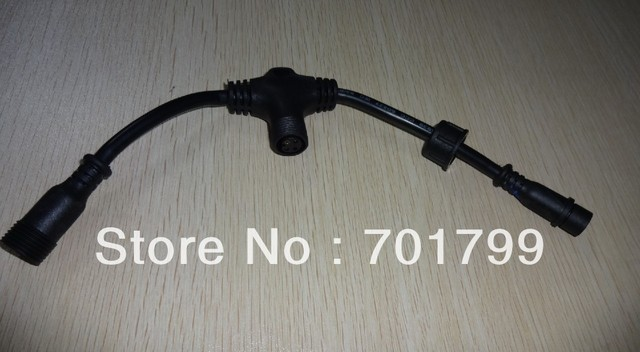 4core T type waterproof splitter;BLACK color;the male connect's diameter;13.5mm