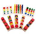 Montessori Cylinder Educational Toy Block Wood Teaching Aids Geometry Shape Baby Learning Portfolio Combination 1lot 8
