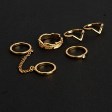 Ebay and Aliexpress hot sale knuckle phalange ring gold and silver plated 6pcs set statement midi