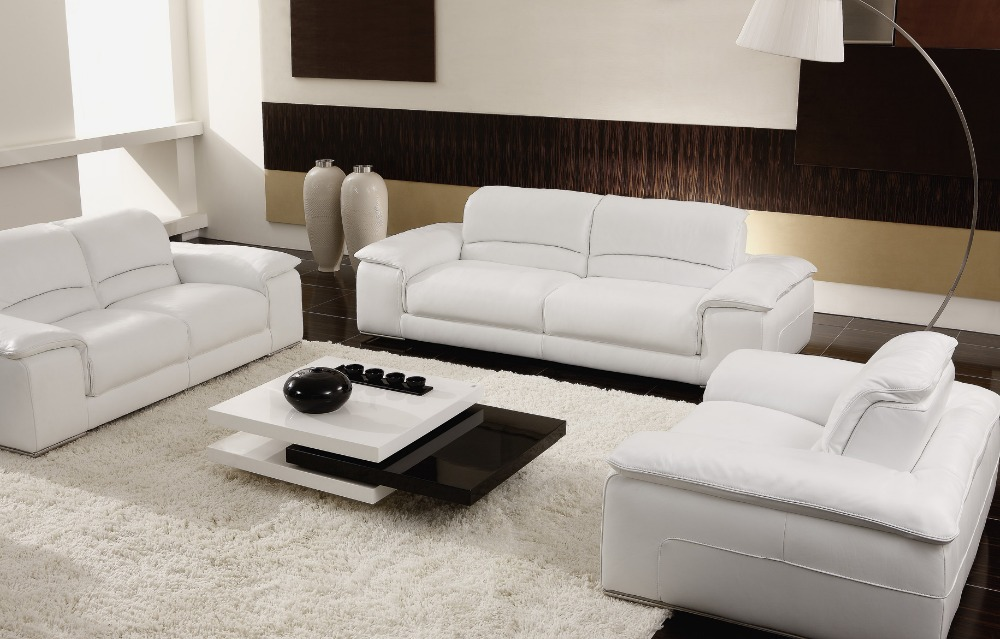 Buy White Beige Sectional Leather Sofas Living Room 8230 Lea