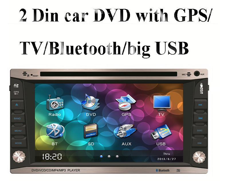 """Free shipping universal double 2 Din 6.2"""" inch Car DVD player with GPS Navigation(optional), audio Radio stereo,USB/SD,BT/TV(China (Mainland))"""