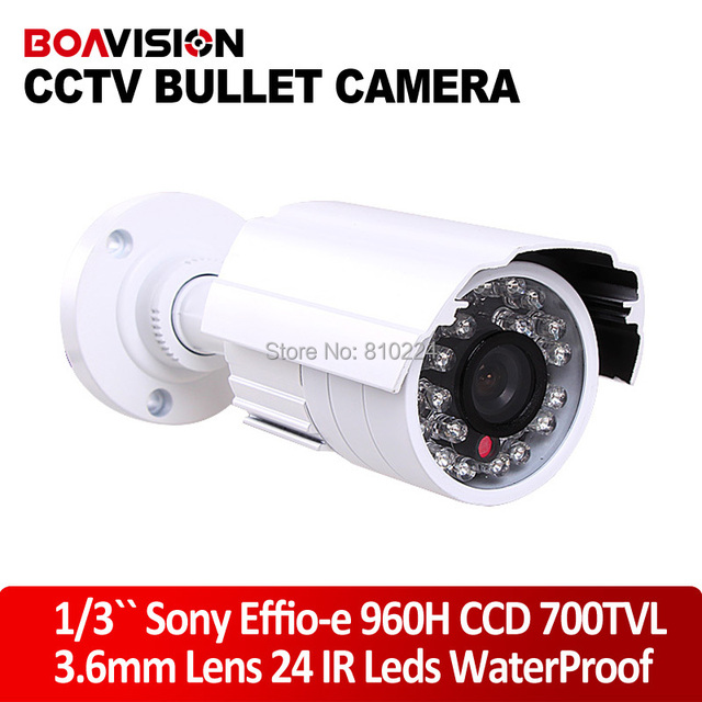 "Sony Video Camera Original 1/3"" Sony Effio-e 700TVL CCD IR CCTV Security Bullet Camera with Night Vision 3.6mm 24 LED"