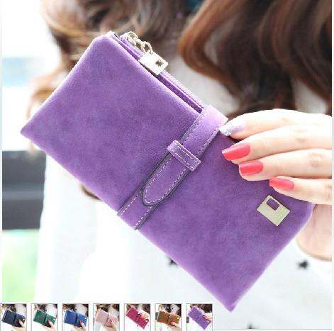 hot 2015 new fashion women wallets drawstring nubuck Leather zipper wallet women's long design purse two fold 7 color clutch - my store way