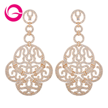 New Design New Arrival Exaggerate Vintage Style White Gold Plated Austria Crystal Dangle Drop Earrings for Woman hot saleGLE5271(China (Mainland))