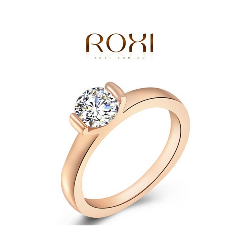 ROXI Fashion Rose Gold Plated Weeding Rings CZ Diamond 100% Hand Made Jewelry Women - Happy to buy store
