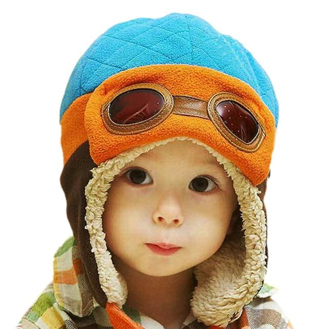 Мальчики Девочки Детские Пилот Летчик Шляпу Зима Хлопок Теплый Ухо Шапки Шапочки 4 Цвета