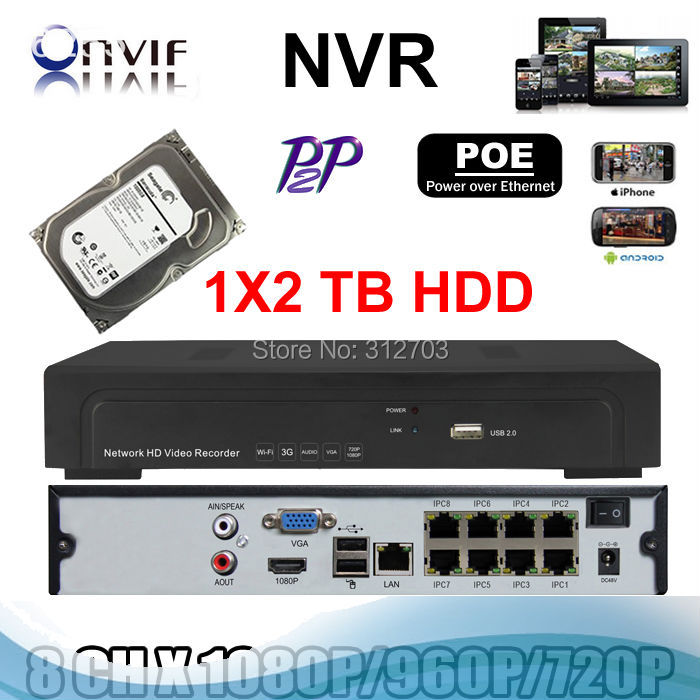 New 8CH Onvif Full HD 1080P 48V Real PoE NVR All-in-one Network Video Recorder for PoE IP Cameras P2P Cloud Service With 2TB HDD(China (Mainland))