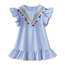 Летние платья с кисточками и рукавами-крылышками для девочек, милые детские праздничные платья в полоску из хлопка для девочек, платье прин...(China)
