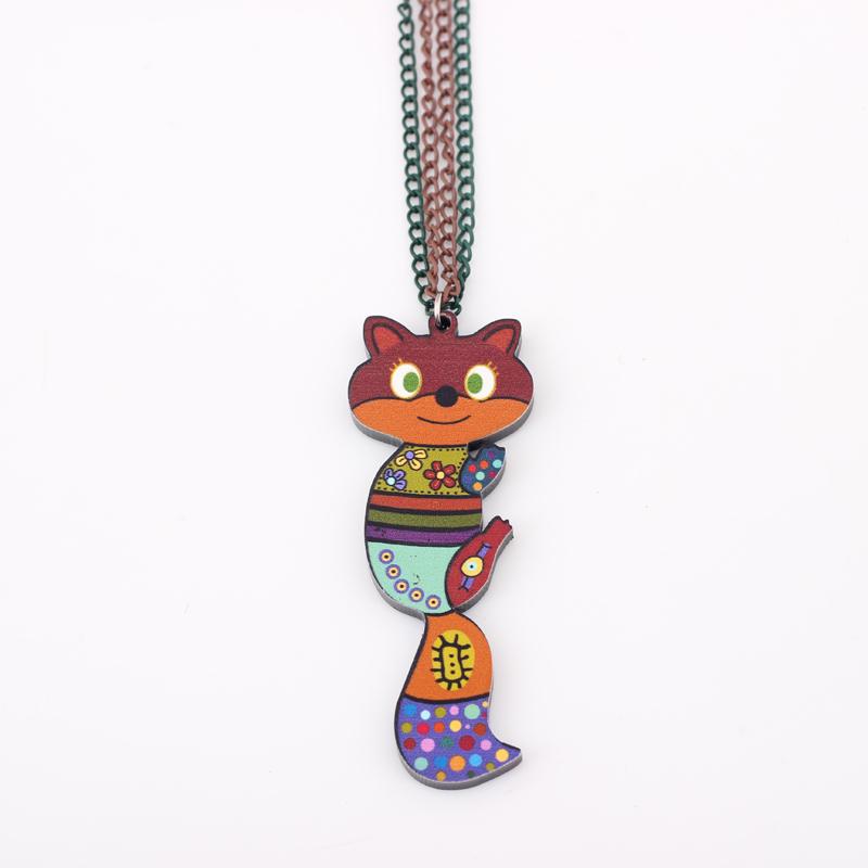 Kanima Cat Statement Necklaces Acrylic Bohemian Maxi Long Chain Pendants 2015 News Cute Choker Girls Women Accessories(China (Mainland))