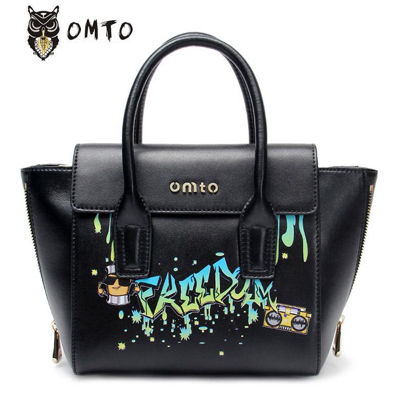 Фотография Bags Handbags Women Famous Brands Genuine Leather Womne Bag OMTO Rock Shoulder Messenger Bags Fashion Cowhide Women Handbags