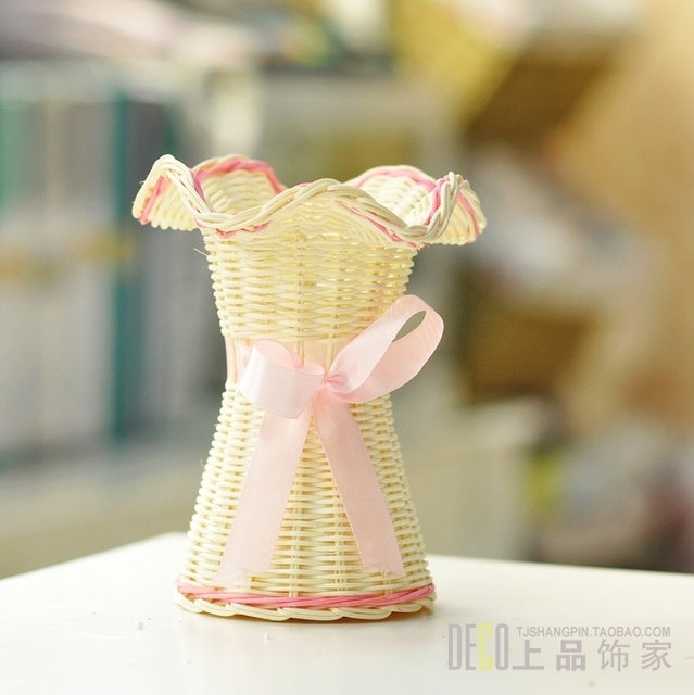 Flower flower basket artificial flower rattan white roll up hem ribbon blue flowers