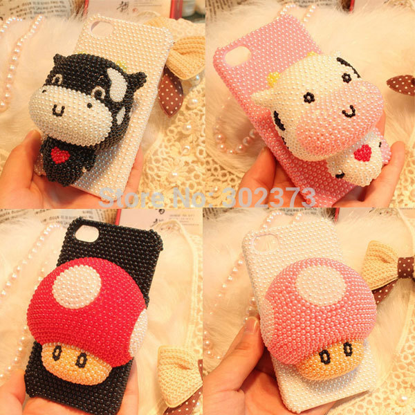 3D Cute Cartoon Cases Cover Cell phones Luxury Hello Kitty Cow Stitch Bling Diamond Case For iPhone 4 4S 5 5S 5C Free Shipping(China (Mainland))