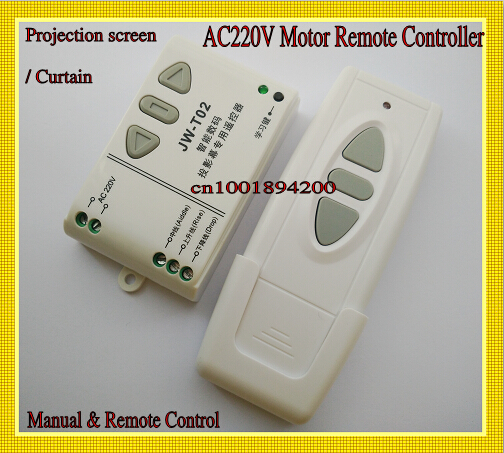 220V AC Motor Remote Controller Curtain Projection Screen Motor Manual& Wireless Control System Wall Transmitter Manual Receiver(China (Mainland))