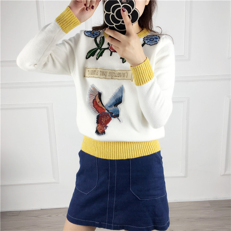 Kingsnower 2016 Autumn Winter Sweater Women Knitted Sweater Flower Letter Magpie Embroidery Sweater Simple Slim Pullover JA8030(China (Mainland))