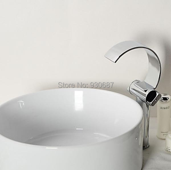 Фотография Tall Waterfall Chrome Finish Basin Faucet Dual Handles Centerset mixer Tap